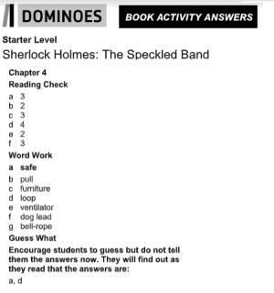 Sherlock Holmes Chapter 4 answers